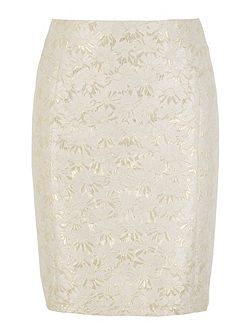 Gold Daisy Jacquard Pencil Skirt