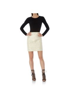 Uttam Boutique Gold Daisy Jacquard Pencil Skirt