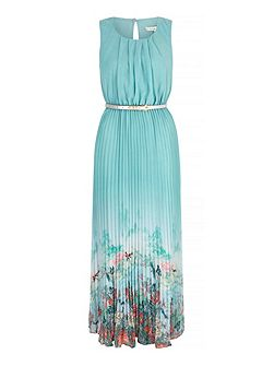 Oriental Print Pleated Maxi Dress with belt inclu