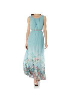 Uttam Boutique Oriental Print Pleated Maxi Dress with belt inclu