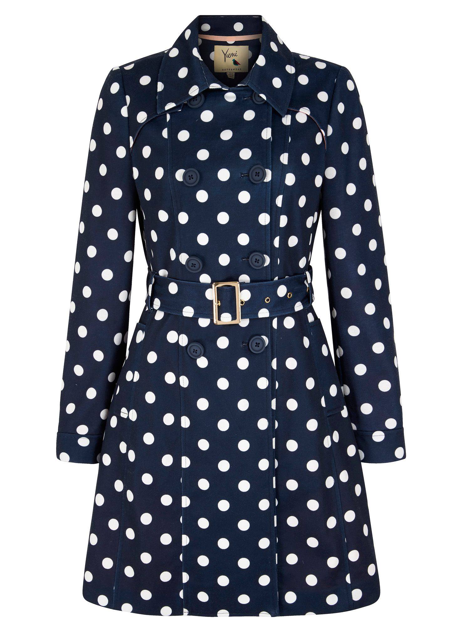 Yumi Polka Dot Print Trench Coat, Blue