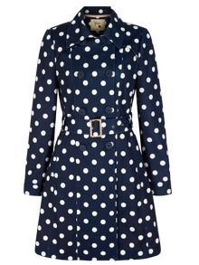 Yumi Polka Dot Print Trench Coat