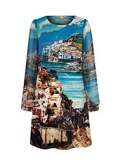Amalfi Coast Print Tunic Dress
