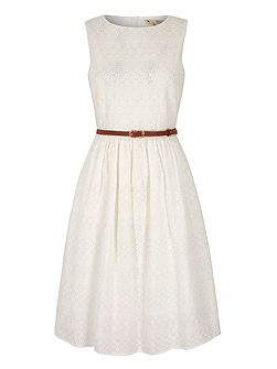 Broderie Anglaise Midi Dress with belt