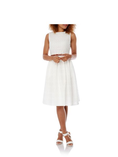 Yumi Broderie Anglaise Midi Dress with belt
