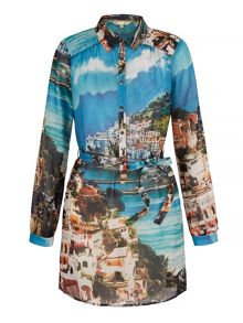 Yumi Amalfi Coast Print Shirt Dress
