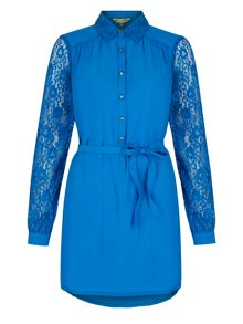 Yumi Lace Sleeve Shirt Dress