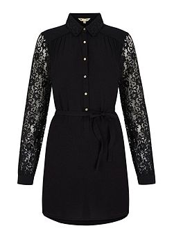 Lace Sleeve Shirt Dress