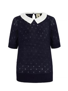 Yumi Polka Dot Collar Jumper