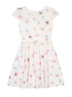 Girls Floral Print Dot Dress