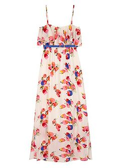 Girls Tulip Print Frill Maxi Dress
