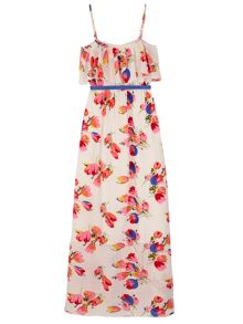 Yumi Girls Girls Tulip Print Frill Maxi Dress
