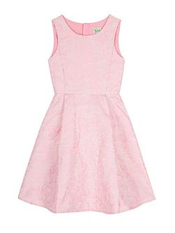 Girls Metallic Floral Jacquard Dress