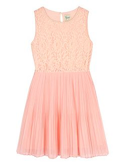 Girls Embellished Lace Pleated Dress