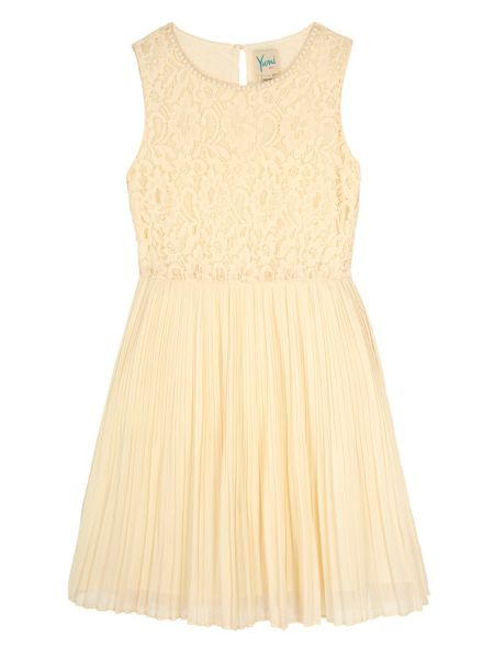 Yumi Girls Girls Embellished Lace Pleated Dress