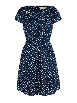 Polka Dot Gathered Day Dress