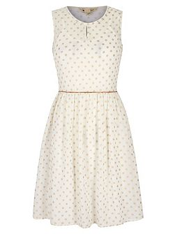 Gold Polka Dot Print Day Dress