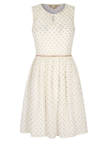 Yumi Gold Polka Dot Print Day Dress
