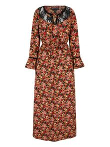 Mela Loves London 70s Tapestry Print Lace Maxi Dress