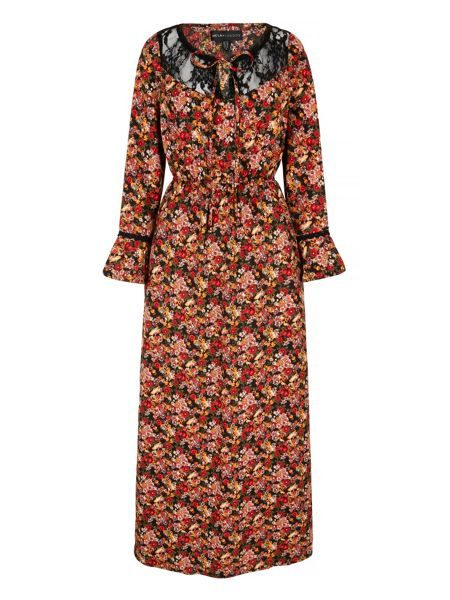 Mela London 70s Tapestry Print Lace Maxi Dress