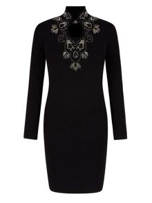 Embellished High Neck Bodycon Dress