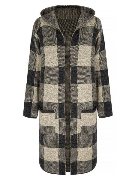 Mela London Checked Knit Long Cardigan