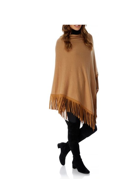 Mela London Western Faux Suede Fringed Poncho