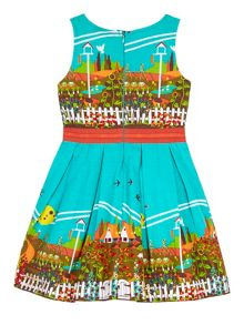 Uttam Girls Garden Border Print Day Dress