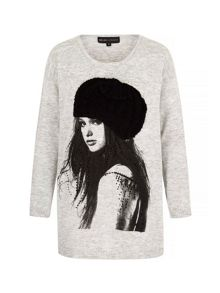 Mela London Girl in a Beanie Print Oversized Jumper