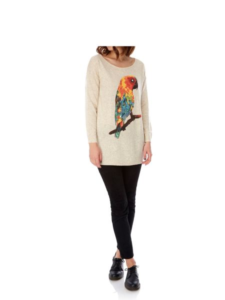 Mela London Parrot Print Oversized Jumper