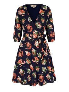 Yumi Rose Print Wrap Dress