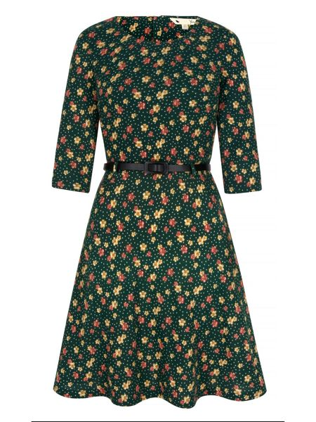 Yumi Floral and Polka Dot Print Skater Dress