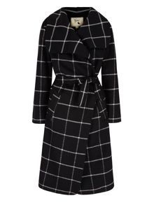 Yumi Check Print Wrap Coat