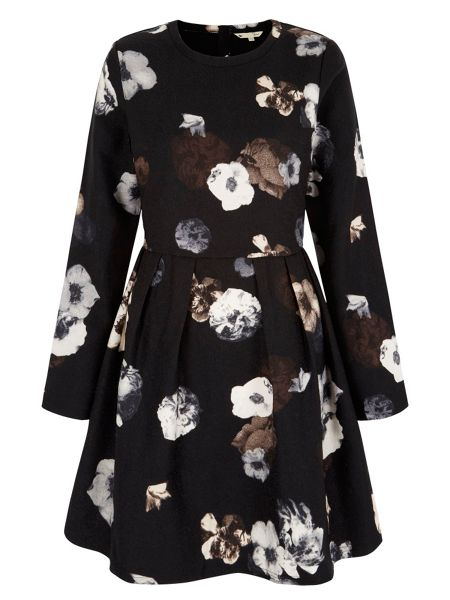 Yumi Long Sleeve Floral Print Dress