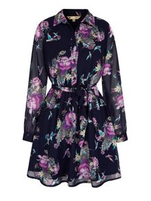 Yumi Hummingbird Floral Print Kaftan Dress
