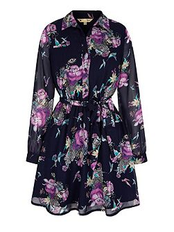 Hummingbird Floral Print Kaftan Dress