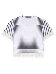 Yumi Girls Girls Crochet Lace Stripe T-Shirt