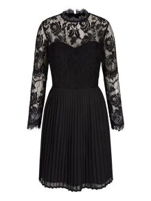 Yumi Long Sleeve Lace Pleated Dress