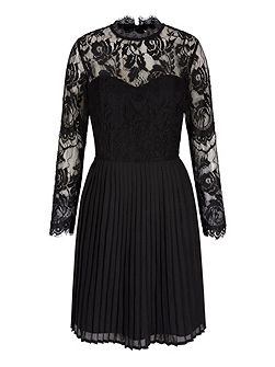 Long Sleeve Lace Pleated Dress