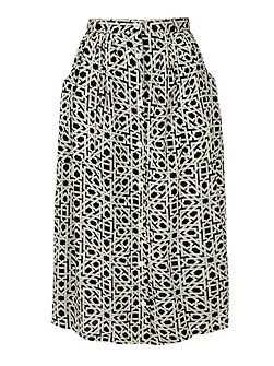 Geo Print Button Through Midi Skirt