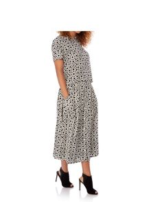 Yumi Geo Print Button Through Midi Skirt