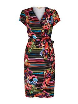 Stripe Floral Print Wrap Dress