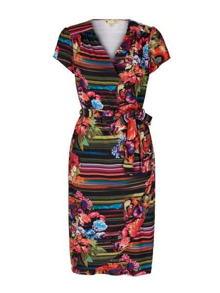 Yumi Stripe Floral Print Wrap Dress