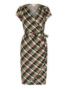 Yumi Check Print Wrap Dress