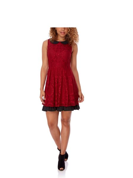 Yumi Burgundy Lace Collar Dress