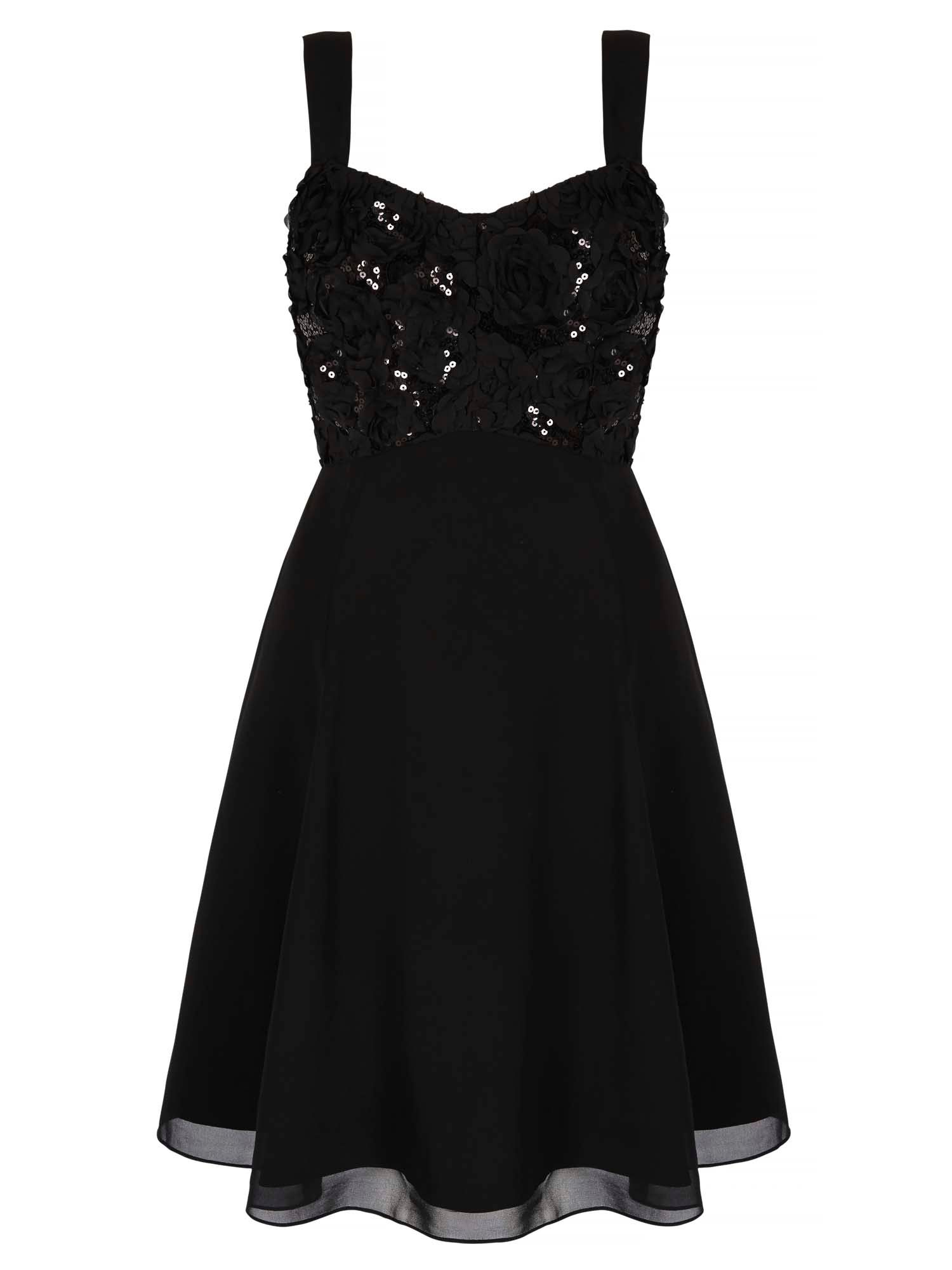 Yumi Rose Floral Swing Dress, Black