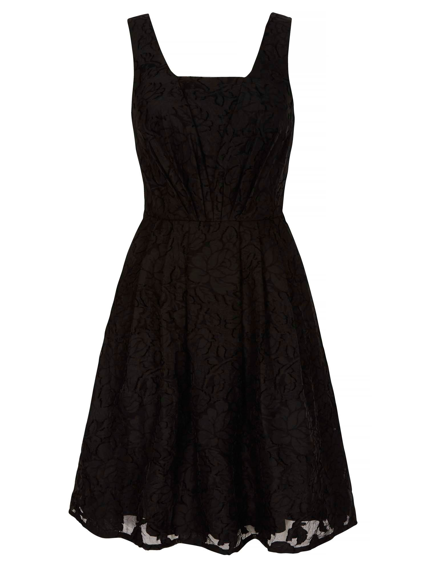 Yumi Floral Jacquard Party Dress, Black
