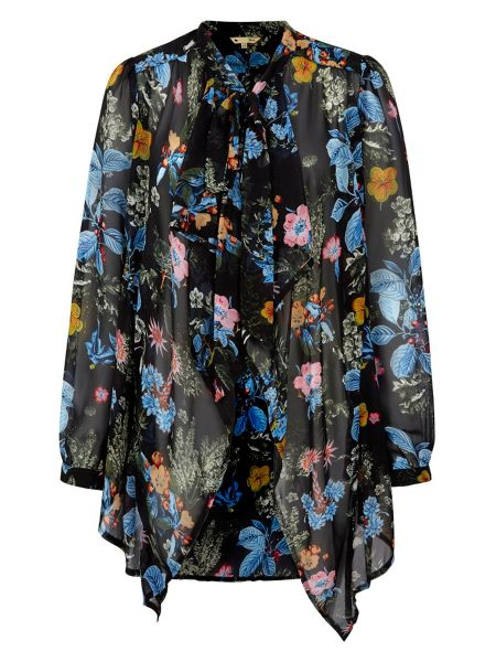 Yumi Multi Floral Print Pussybow Blouse