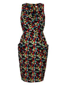 Tear Drop Print Cowl Dress