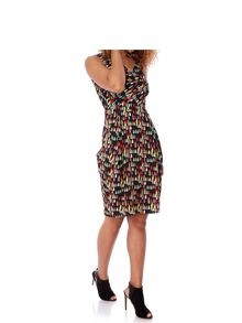 Yumi Tear Drop Print Cowl Dress